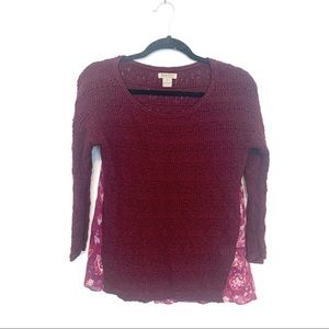 Lucky Brand Maroon Knit Sweater with Back Detail